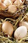 Uova nel cestino e paglia — Foto stock
