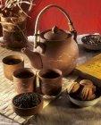 Thé vert en teaset asiatique — Photo de stock