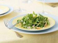Krabbenfleisch mit Erbse sprießen Salat auf gelbes Schild mit Gabel — Stockfoto