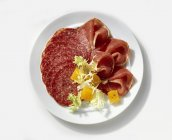 Salami with raw ham on plate — Stock Photo
