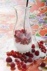 Frutas vermelhas frescas com açúcar na jarra — Fotografia de Stock