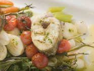 Grilled sea bass cutlet — Stock Photo