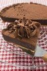 Chocolate tart on cake rack — Stock Photo