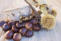 Castagne sul tavolo di legno — Foto stock