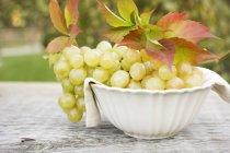 Uva verde in ciotola bianca — Foto stock