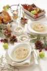 Elevated view of jellied fish and raisin Galantine for Christmas dinner — Stock Photo