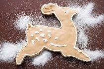 Close-up vista superior de renas com açúcar branco e cobertura de chocolate — Fotografia de Stock
