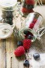 Lamponi e mirtilli nel preservare vasetti — Foto stock