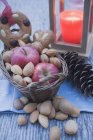 Red apples with almonds and cone — Stock Photo