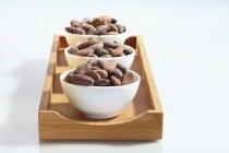 Tazones de granos de cacao - foto de stock