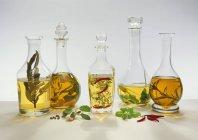 Cinque differenti aceti aromatizzati su priorità bassa bianca — Foto stock