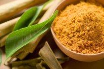 Curryblätter und Currypulver — Stockfoto