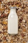 Зернові й пляшка молока — стокове фото