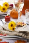 Closeup view of autumnal table setting for Thanksgiving — Stock Photo