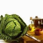 Savoy green cabbage — Stock Photo