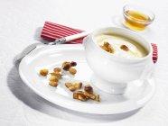 Йогурт і мед в плита — стокове фото