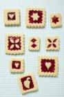 Квадрат jam печиво — стокове фото