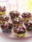 Easter Candy Nests in Cupcake Liners — Stock Photo