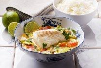 Merluzzo con verdure e riso — Foto stock