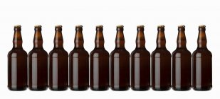 Brown bottles with beer — Stock Photo