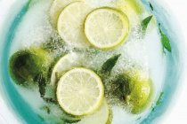 Limes and mint leaves in block of ice — Stock Photo
