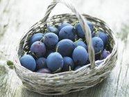 Ciruelas frescas maduras en cesta - foto de stock