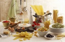 Still life of pasta dish ingredients — Stock Photo