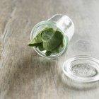 Salvia orgánica en tarro de vidrio - foto de stock