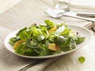 Detailansicht der Salat Blätter mit orange Keile — Stockfoto