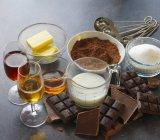 Chocolate truffle ingredients — Stock Photo