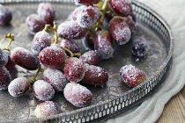Vista de cerca de las uvas azucaradas en bandeja de metal con dibujos - foto de stock