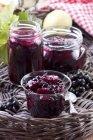 Blackcurrant and apple jam — Stock Photo