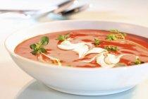 Zuppa di pomodoro con panna acida — Foto stock