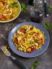 Elevated view of Paella with chicken, prawns and Chorizo — Stock Photo