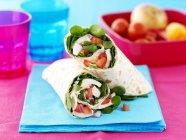 Esegue il wrapping di pollo, pomodoro e cipolla sul tovagliolo blu — Foto stock