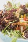 Vista de cerca de las hojas de ensalada con verduras - foto de stock