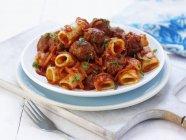 Rigatoni pasta with meatballs — Stock Photo