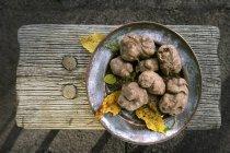 Trufas brancas no prato rústico — Fotografia de Stock
