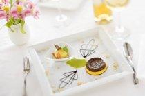 Zabaione und Schokolade pudding — Stockfoto