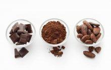 Cacao en polvo en platos de vidrio - foto de stock
