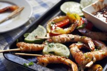 Grilled Shrimp with Toothpicks — Stock Photo
