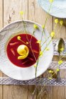 Strawberry soup with mango sorbet — Stock Photo
