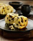 Closeup view of chocolate chip Brioche pieces on plate — Stock Photo