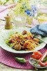 Spaghetti pasta with tuna dumplings — Stock Photo