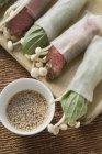 Rotoli di carta di riso riempito con carne di manzo — Foto stock