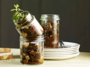 Goulash in preserving jars — Stock Photo