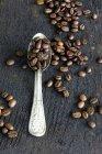 Coffee beans on aluminium spoon — Stock Photo