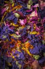Closeup view of a mixture of herbs and flower petals — Stock Photo