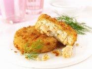 Due torte di pesce di salmone e aneto — Foto stock