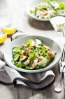 Salmon salad with peas — Stock Photo